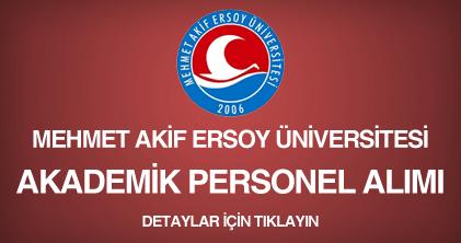 metmet akif ersoy üniversitesi, akademik personel alım ilanı