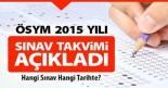 2015 ösym sınav takvimi