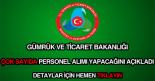 Gümrük ve Ticaret Bakanlığı personel alımı