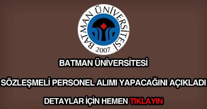 Batman Üniversitesi sözleşmeli personel alımı