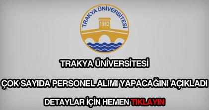 Trakya Üniversitesi personel alımı
