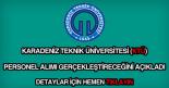 Karadeniz Teknik Üniversitesi personel alımı
