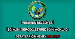 Menemen Belediyesi işçi alımı