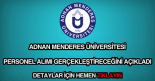 Adnan Menderes Üniversitesi personel alımı