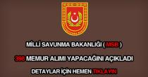 Milli Savunma Bakanlığı 398 memur alımı