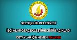 Seydişehir Belediyesi işçi alımı