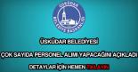 Üsküdar Belediyesi personel alımı
