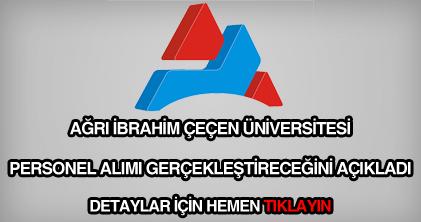 Ağrı İbrahim Çeçen Üniversitesi personel alımı