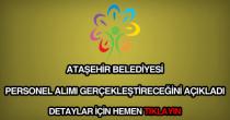 Ataşehir Belediyesi personel alımı