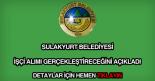 Sulakyurt Belediyesi işçi alımı