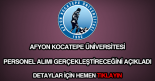 Afyon Kocatepe Üniversitesi personel alımı
