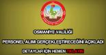 Osmaniye Valiliği personel alımı