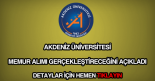 Akdeniz üniversitesi memur alımı