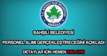 Bahşili Belediyesi personel alımı