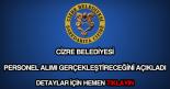 Cizre Belediyesi personel alımı