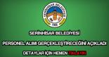 Serinhisar Belediyesi personel alımı
