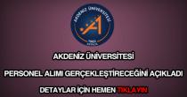 Akdeniz Üniversitesi personel alımı