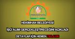 Hekimhan Belediyesi işçi alımı