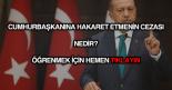 Erdoğan'a hakaret etmenin cezası nedir?