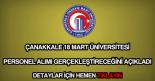 Çanakkale 18 mart üniversitesi personel alımı