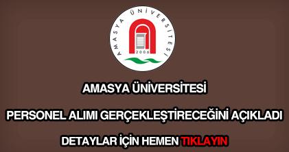 Amasya Üniversitesi personel alımı