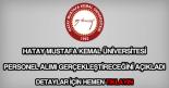 Mustafa Kemal Üniversitesi personel alımı