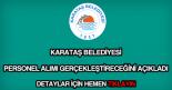 Karataş Belediyesi personel alımı