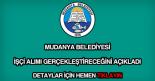 Mudanya Belediyesi işçi alımı